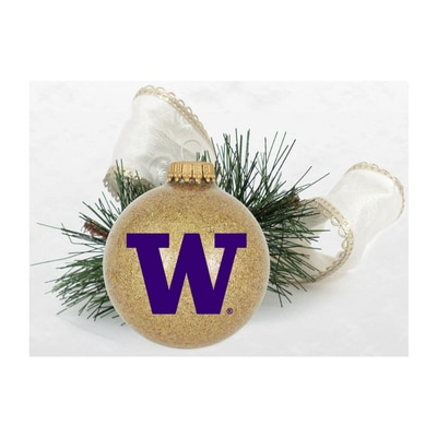Washington Huskies Sparkle Glass Bulb Ornament