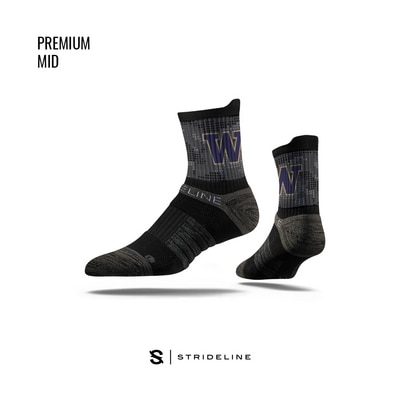 Washington Huskies Strideline Premium Mid with Logo with Graphic Socks