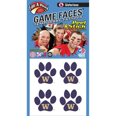 Washington Huskies Waterless Game Face Tattoos  4 Pack  Temporary Tattoos