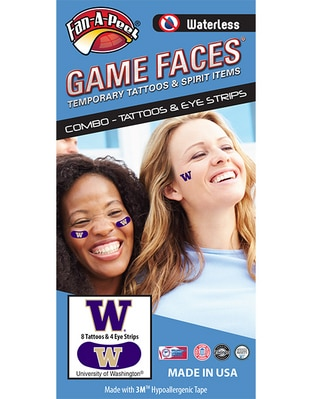 Washington Huskies Face/Eye Combo Pack  10 Pack Waterless Temporary Tattoos