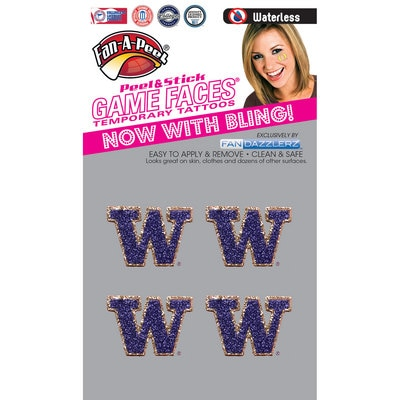 Washington Huskies 4 Pack Waterless Glitter Temporary Tattoos