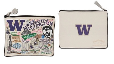 Washington Huskies Cat Studio 5x7 inch Woven Zip Pouch