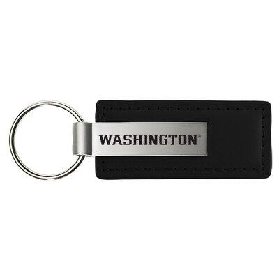 Washington Huskies Black Leather Strap Key Tag