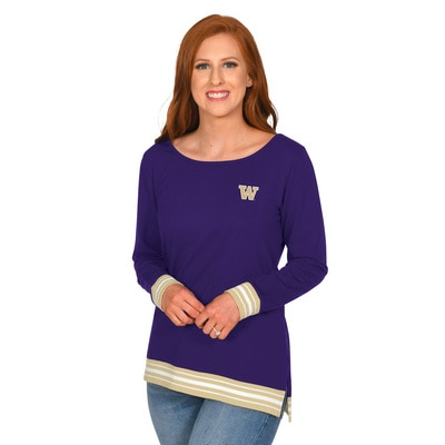Washington Huskies Striped Rib Pullover- Missy