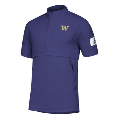 Washington Huskies Adidas Men's Game Mode SS Woven Qtr Zip