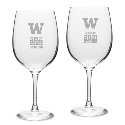Washington Huskies Campus Crystal 19oz Set of 2 Red Wine Glass