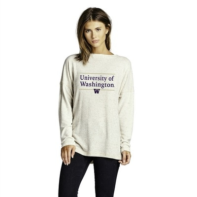 Washington Huskies Brushed Natural Crewneck