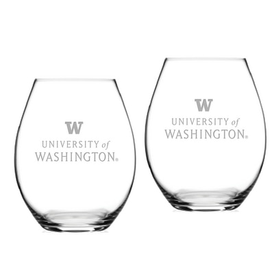 Washington Huskies Riedel Stemless Wine Glass 2pk