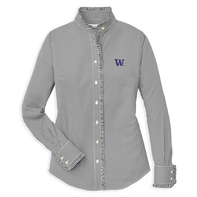 Washington Huskies Ladies Ruffle Gingham Woven