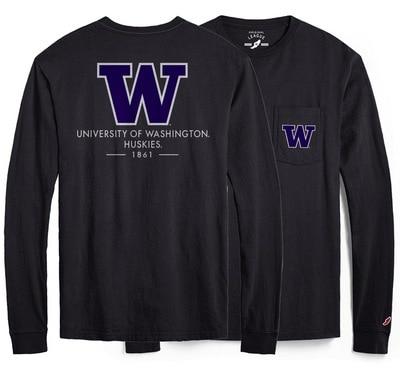 Washington Huskies League All American Ringspun Short Sleeve Pocket T-Shirt