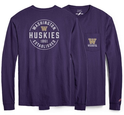 Washington Huskies League All American Ringspun Short Sleeve Pocket T-Shirt