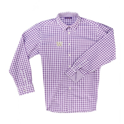 Washington Huskies Boss Gingham Button Up