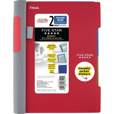 Five Star Advance Wirebound Notebook 2 Subject College Ruled 9 12 x 6 Assorted Colors