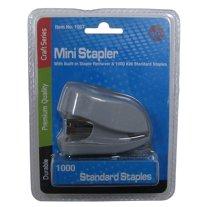 Avantix Mini Stapler with Builtin Staple Remover & 1000 Standard Staples Set
