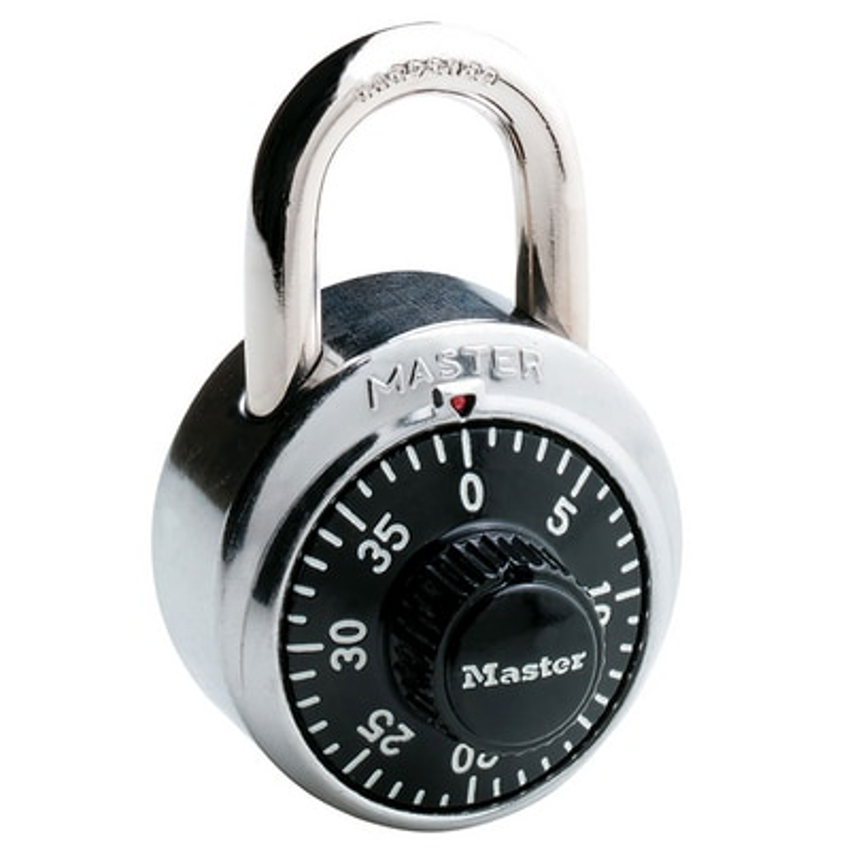 Master Lock 1500D 178in Wide Combination Dial Padlock SilverBlack
