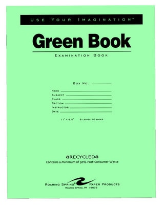 Roaring Spring Green Exam Book Wide Rule 11 x 8 12 8 Sheets