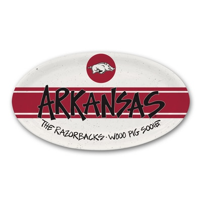 "University of Arkansas Heavy weight melamine oval platter, 6.75""x12.25"""