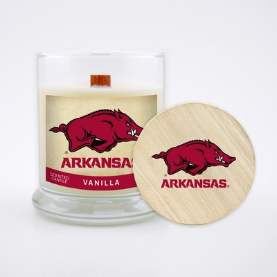 University of Arkansas 8 Oz Vanilla Scented Candle with Soy Wax, Wood Wick, Wood Lid