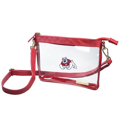 Fresno State Small Crossbody-Size 8 inches  x 6 inches x 1.6 inches  Clear PVC Body