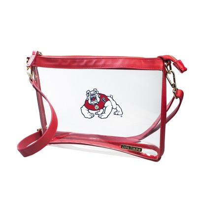 Fresno State Large Crossbody-Size 10 inches x 7.25 inches x 2.4 inches  Clear PVC Body