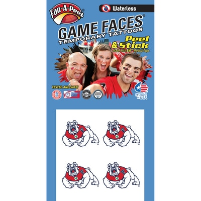 Fresno State Waterless Game Face Tattoos  4 Pack  Temporary Tattoos